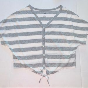 SO stripe Henley top with tie